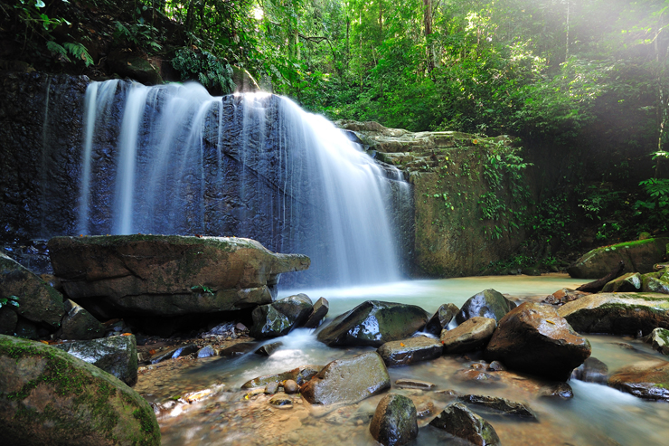 A waterfall in Borneo