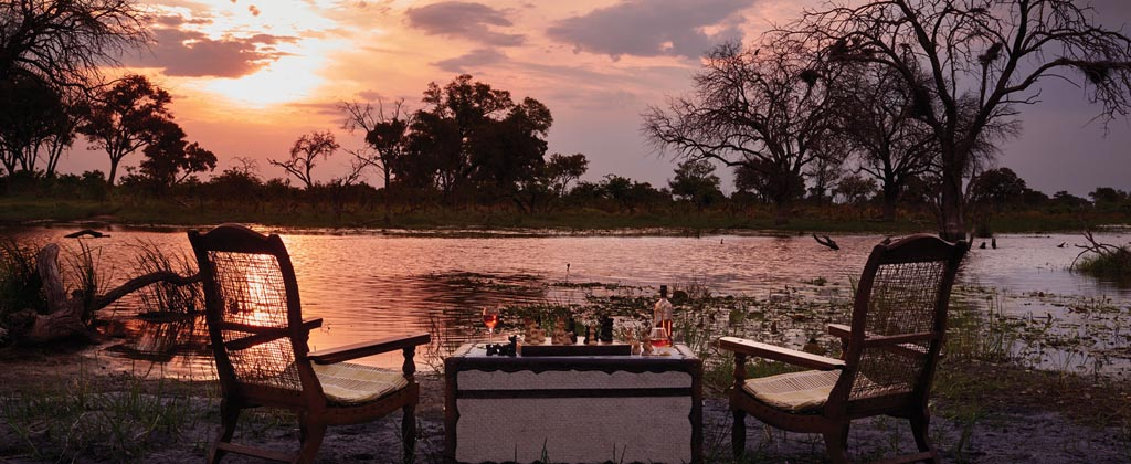 Evening view over the Okavango Delta at Belmond Eagle Island Lodge