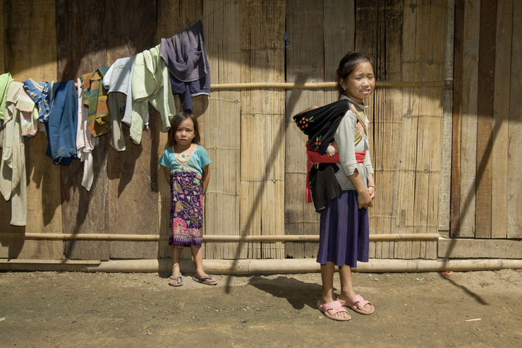 A young girl and her sister in the province of Luang Namtha in Laos