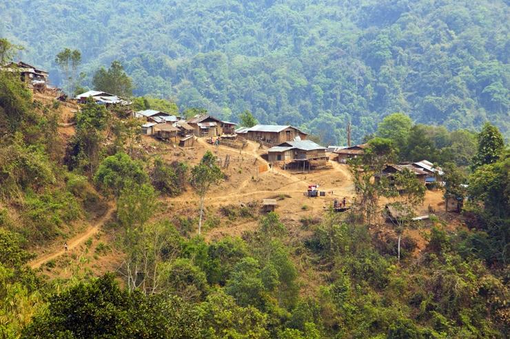An Akha village in northern Laos, a prime hill tribe trekking destination
