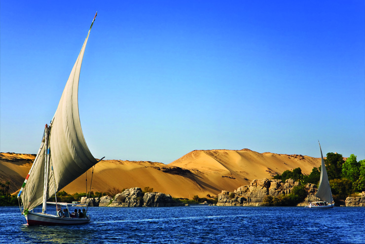 Top 10 cruise journeys - A felucca sailing along the river Nile in Egypt