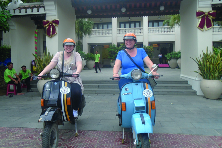 A taste of Hoi An - heading out on Vespas to enjoy the restaurants of Hoi An