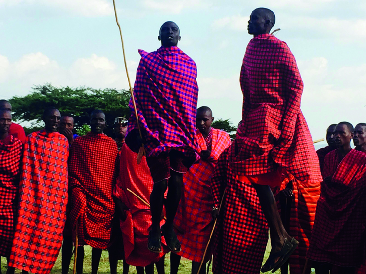 The adumu is the traditional jumping dance of the Maasai Mara tribe
