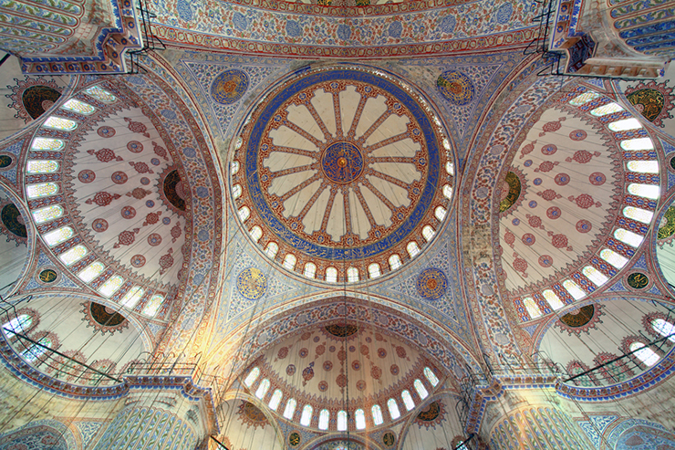 Interior of the Blue Mosque in Istanbul in Turkey