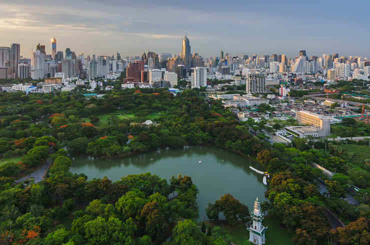 Aerial view of Lumpini Park in Bangkok, Thailand