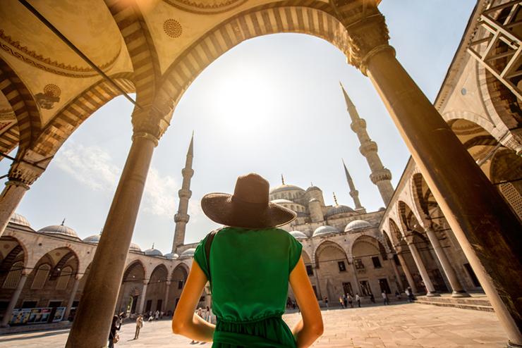 Tourist near the Blue Mosque in Turkey