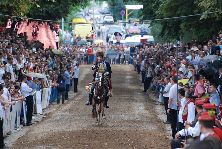 A knight on horseback at Sinjska Alka, a summer event in Croatia