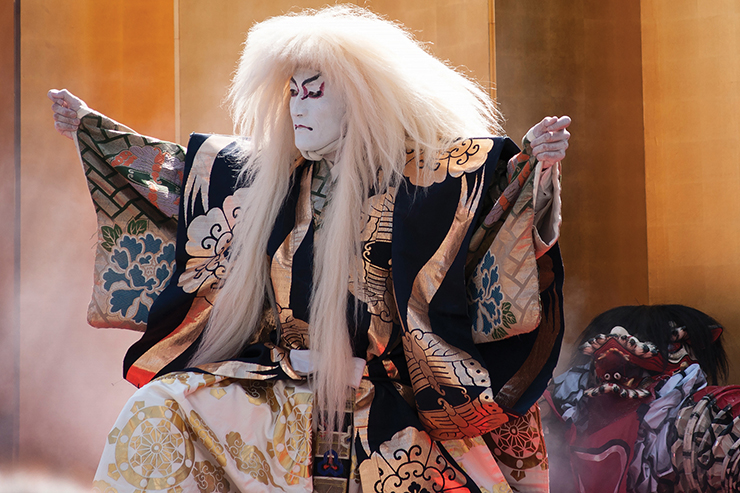 A performer in a kabuki show, a unique cultural experience in Japan