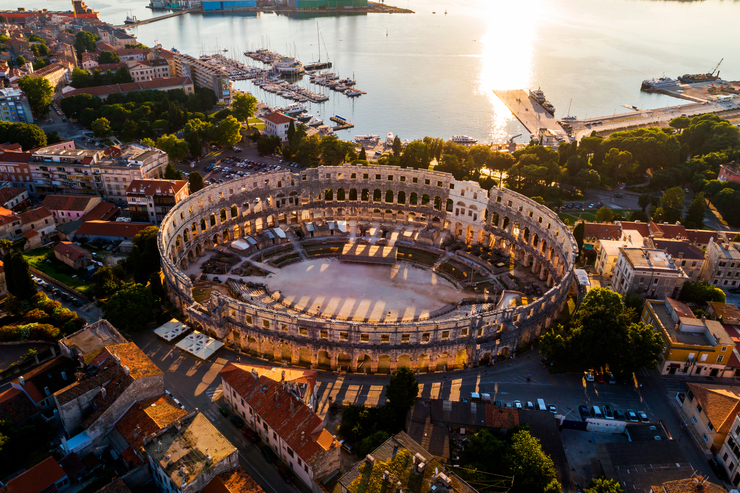 Pula Arena at sunset, the location for one of Croatia's best summer events