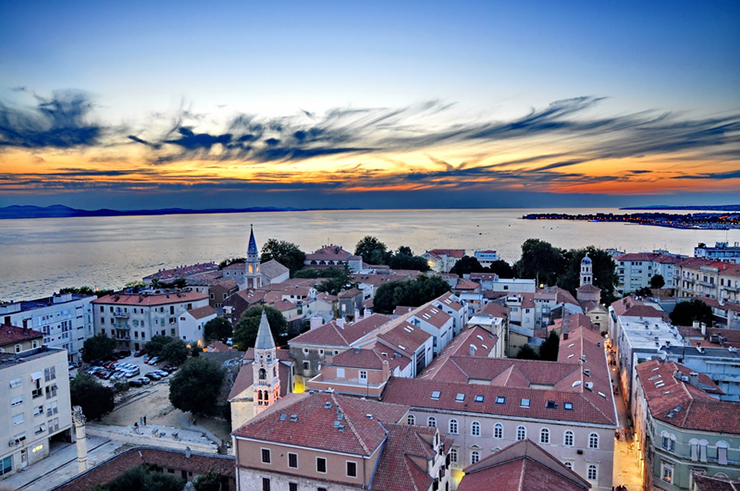 Zadar at sunset, the setting for one of the best summer events in Croatia