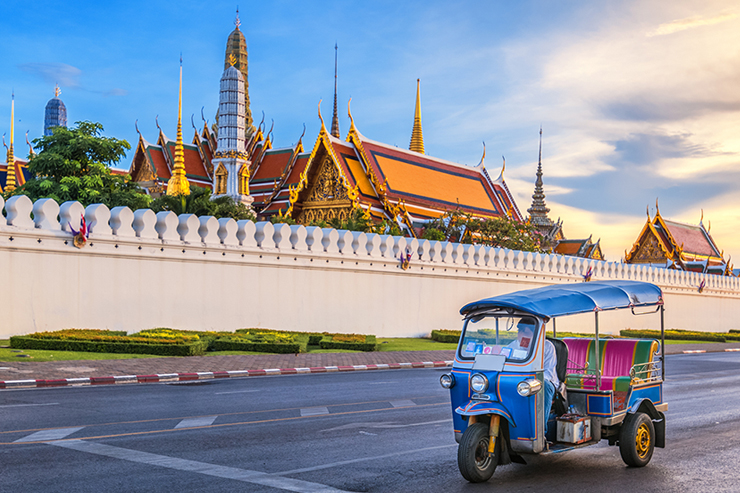 A tuk tuk in Bangkok in Thailand, one of the best family holiday destinations