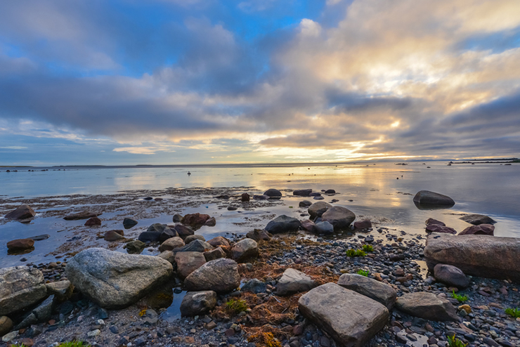 Sunset over the sea on the Solovki islands