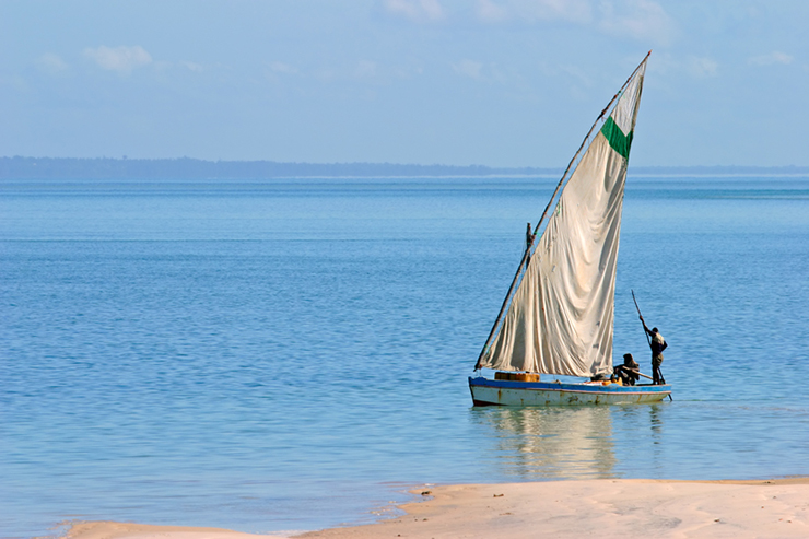 A traditional Dhow sailboat in Mozambique