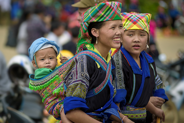 Hmong women and a child in Laos