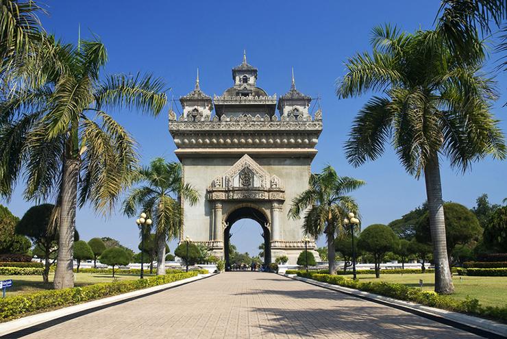 Patuxai monument in Vientiane in Laos