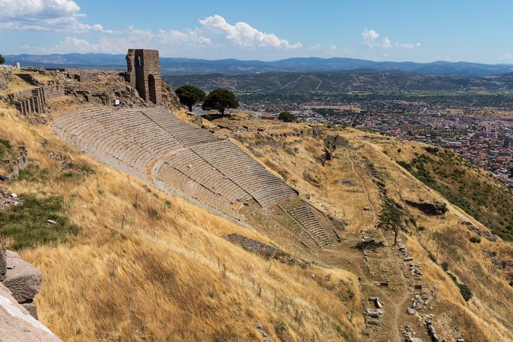 pergamum amphitheatre and surrounding views in Turkey