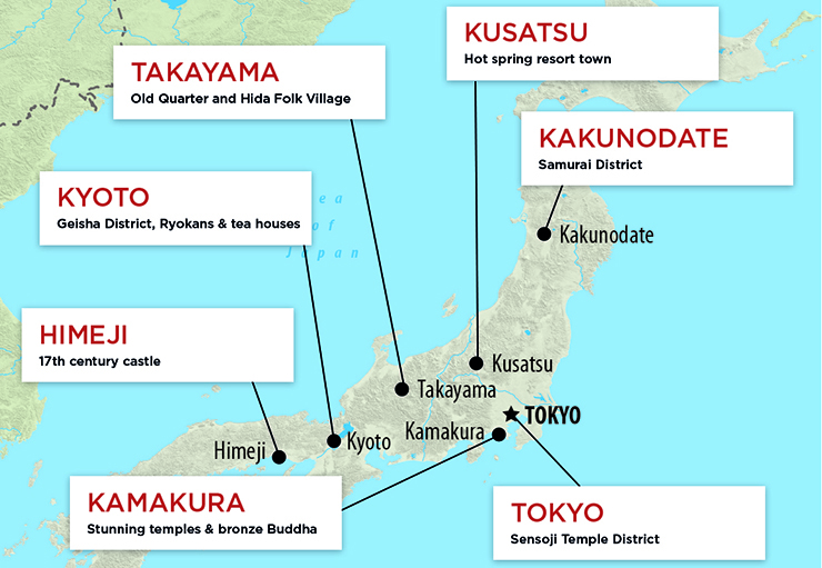 Map of places to experience traditional Japan
