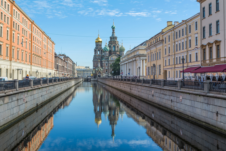 View down a canal in St Petersburg