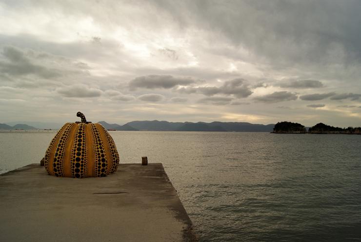 Yellow Pumpkin sculpture on Naoshima Island, Japan