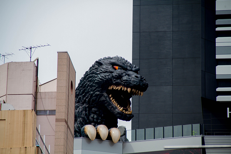 Godzilla head in Tokyo