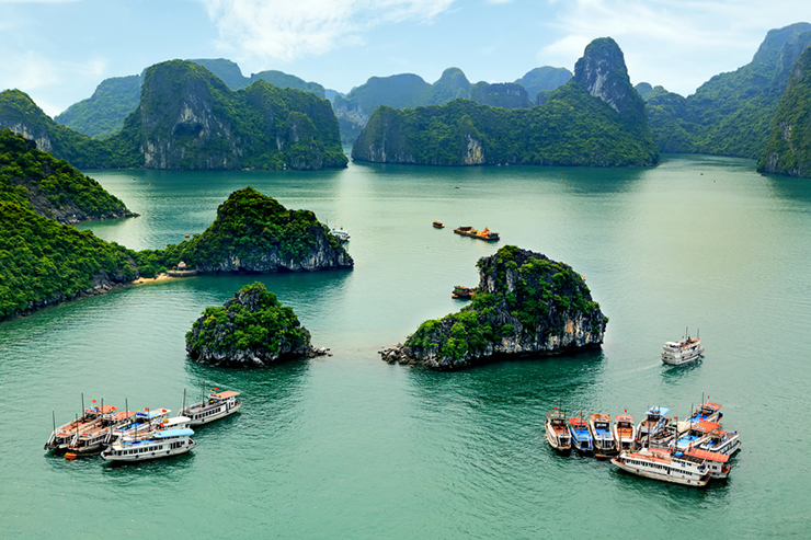 Arial view of Halong Bay in Vietnam