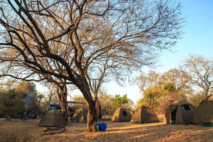 Campsite in the middle of a National Park in Africa