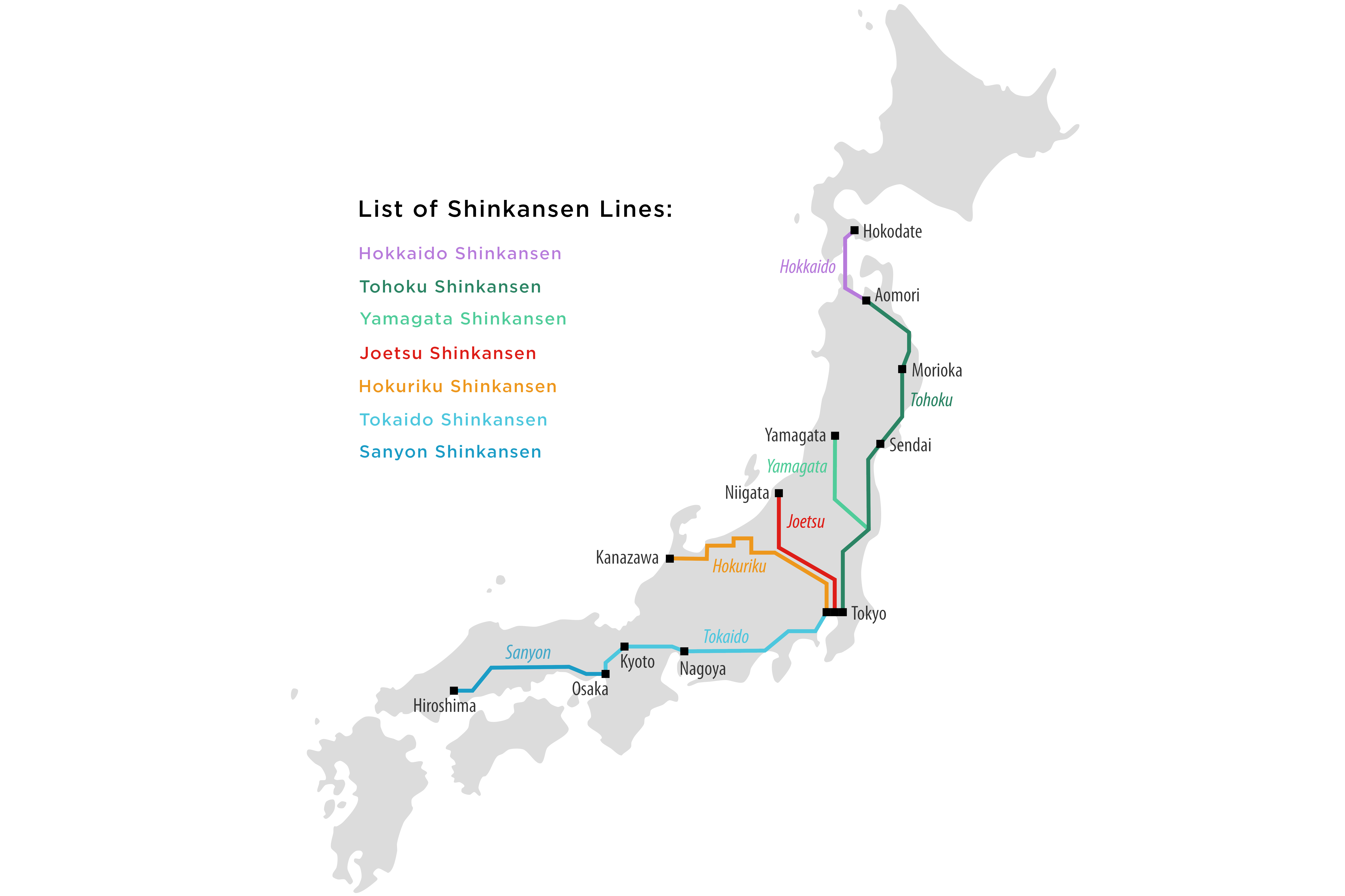 Map of Japan's Bullet Train Routes