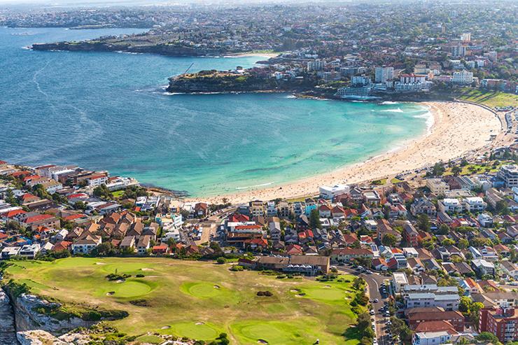 Aerial view of Sydney coastline and Bondi Beach