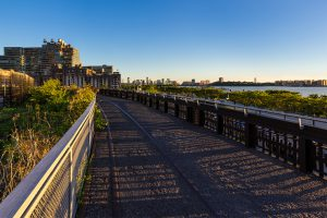 Summer panoramic view from the High Line promenade at sunset with the Hudson River