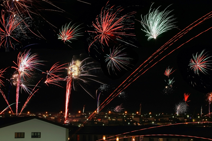 Fireworks on New Years Eve in Reykjavik in Iceland
