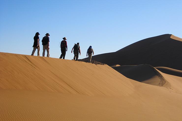 People trekking in the Sahara Desert, Morocco