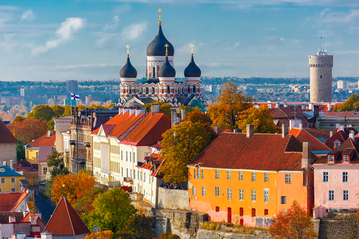 Aerial view of the old town of Tallinn, Estonia