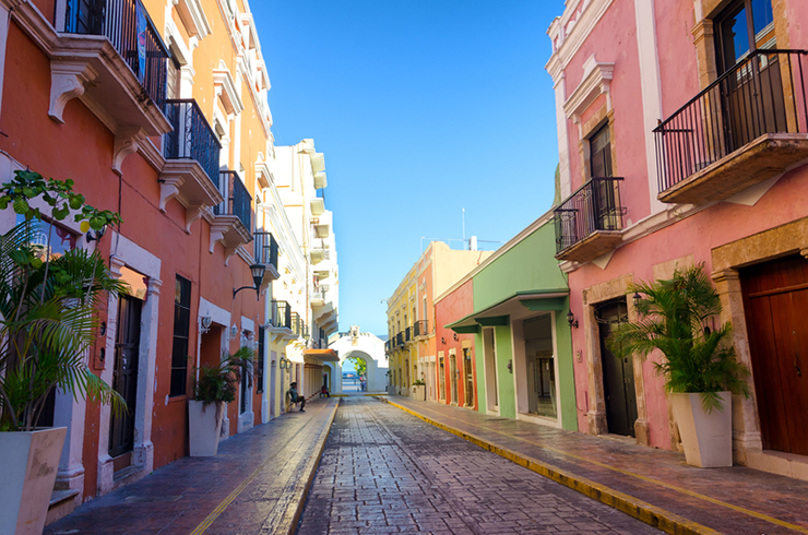 Colourful buildings in Campeche, Mexico