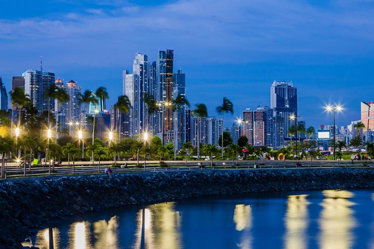 The skyline of Panama City at night