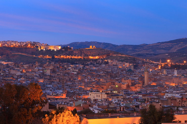 View of the medina of Fez by late evening, Morocco