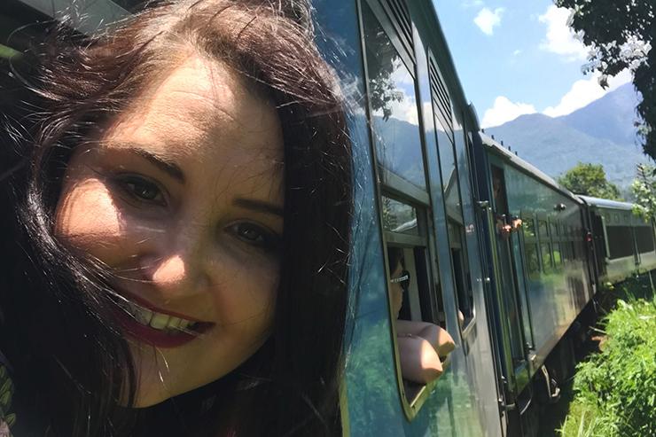 Kat travelling from Kandy to Nuwara Eliya by train, Sri Lanka