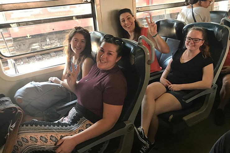 Travellers aboard the Kandy to Nuwara Eliya Train, Sri Lanka