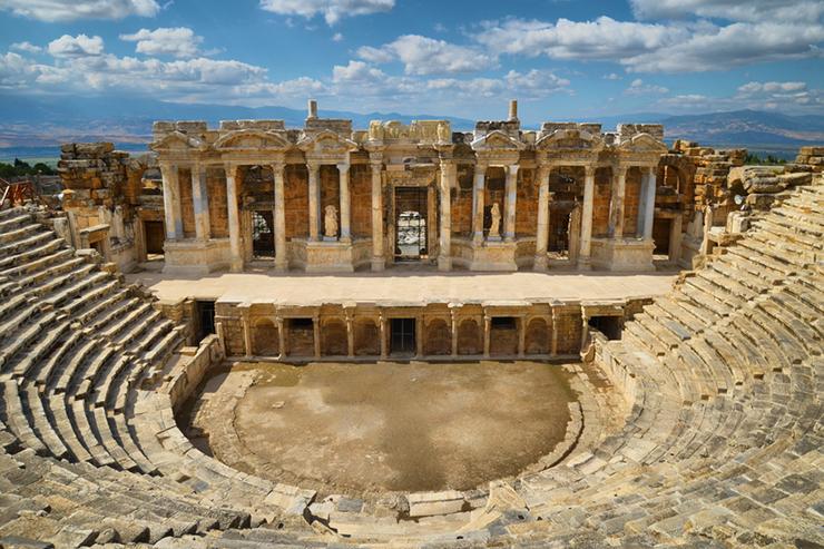 Ruins of the Roman theatre in Hierapolis, Turkey