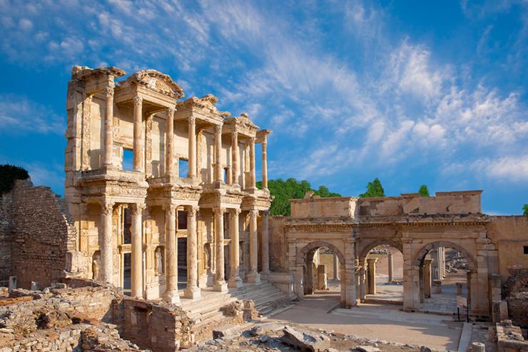 Ruins of Celsus Library in Ephesus, Turkey