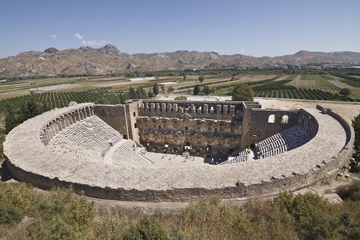 Theatre of Aspendos and surrounding scenery in Turkey