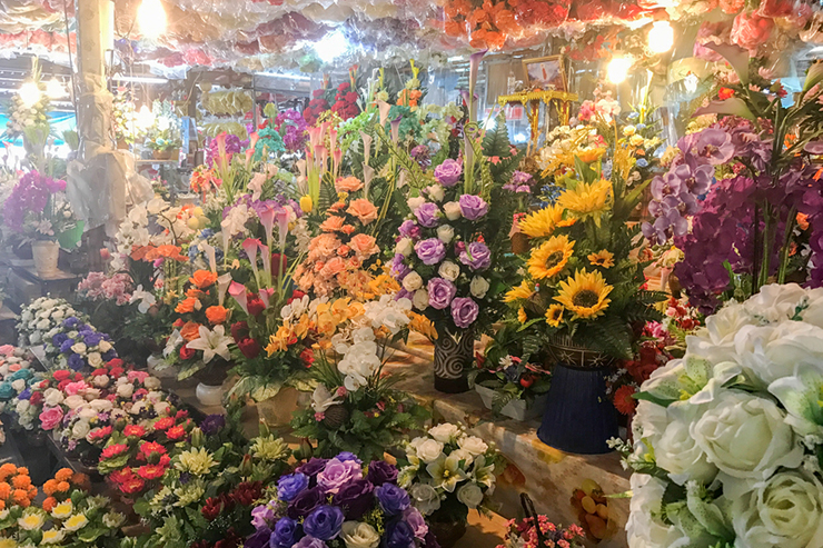 Flower displays at a flower market in Bangkok, Thailand