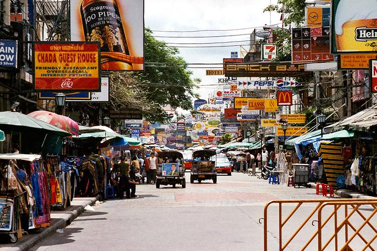 Bustling Khao San Road in Bangkok, Thailand