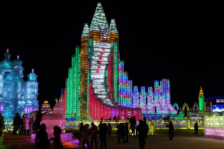 Skyscraper at nighttime at Harbin ice Festival, China