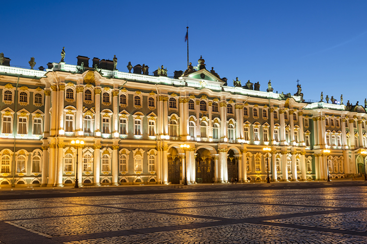 The Winter Palace on Palace Square in St. Petersburg at night, Russia