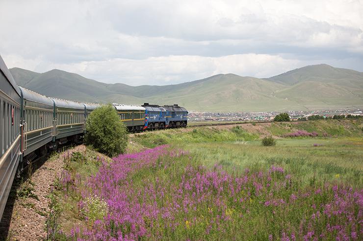 Trans-Siberian railway going through mountainous scenery