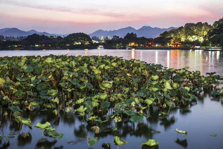 West Lake of Hangzhou at night