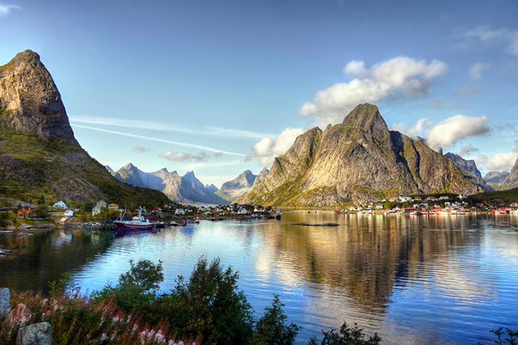 Fjord landscape of the Lofoten Islands, Norway