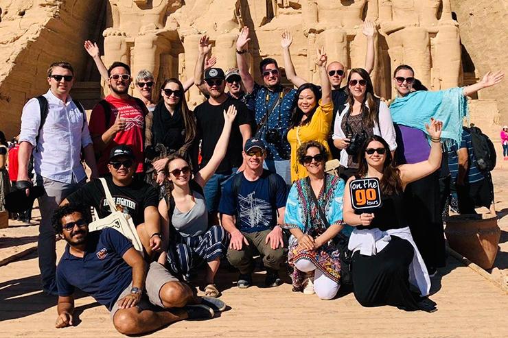 Momo and tour group at Abu Simbel, Egypt