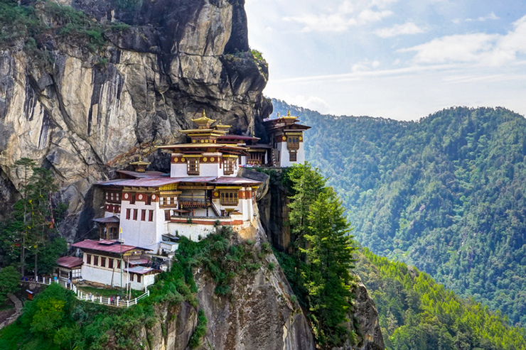 View to Famous Tigers Nest Monastery in Bhutan