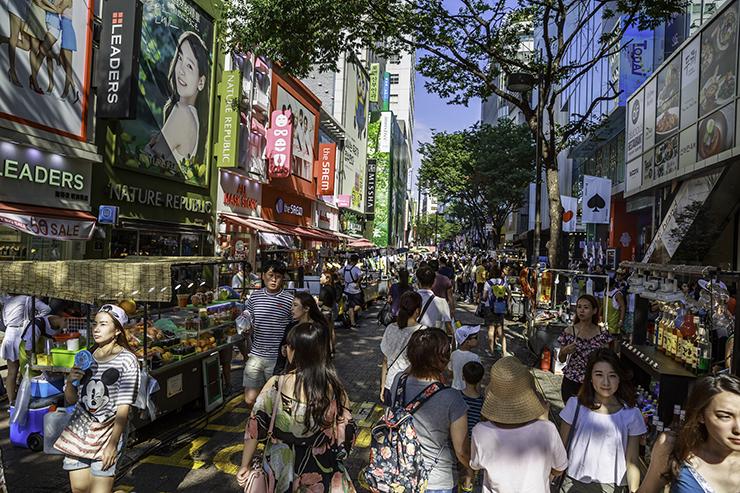 Myeongdong neighborhood in Seoul.